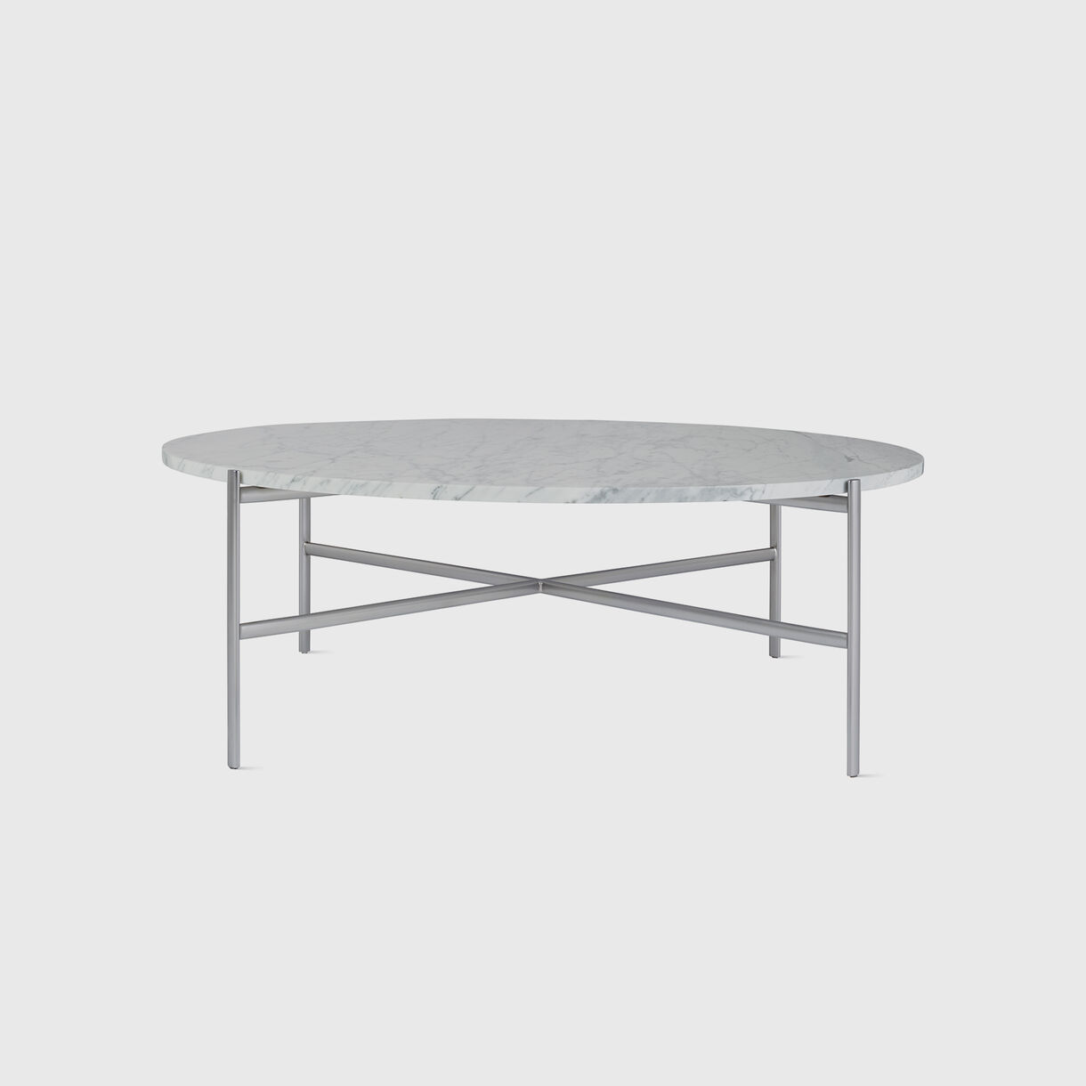 Sylvain Outline Round Coffee Table, Carrara Marble & Stainless Steel