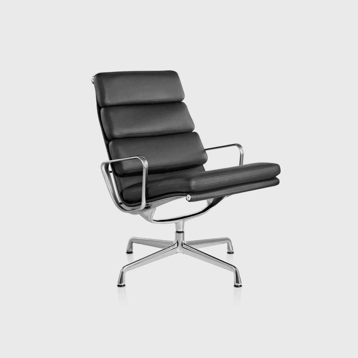 Eames Soft Pad Lounge Chair, 3 Cushions, Black Leather & Polished Aluminium