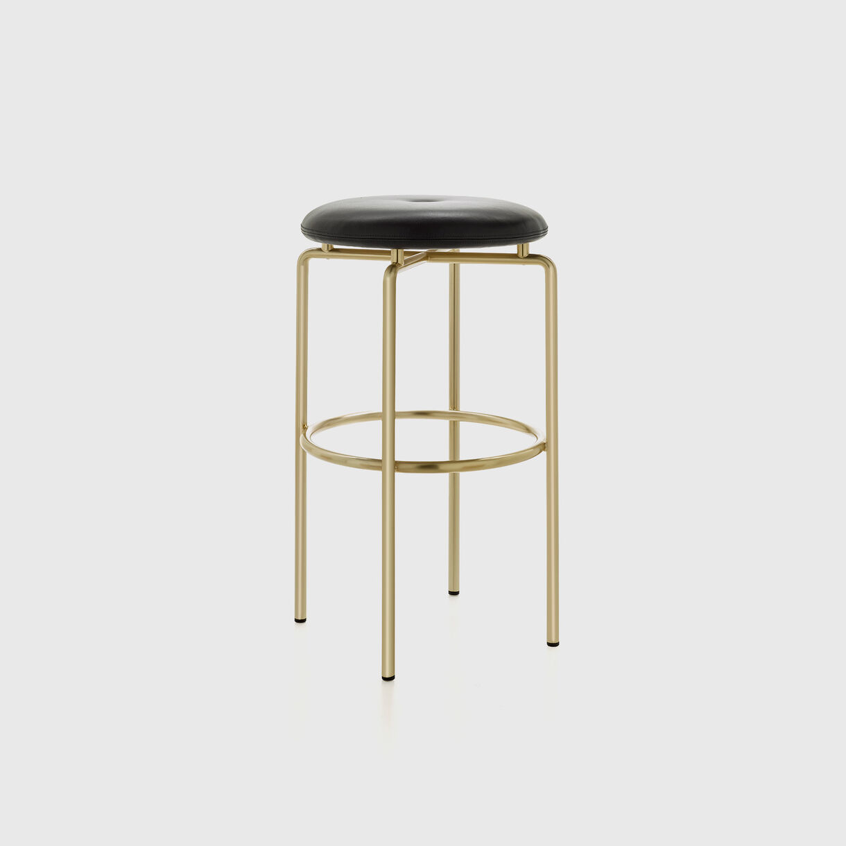 Circular Bar Stool, Satin Brass, Black Leather