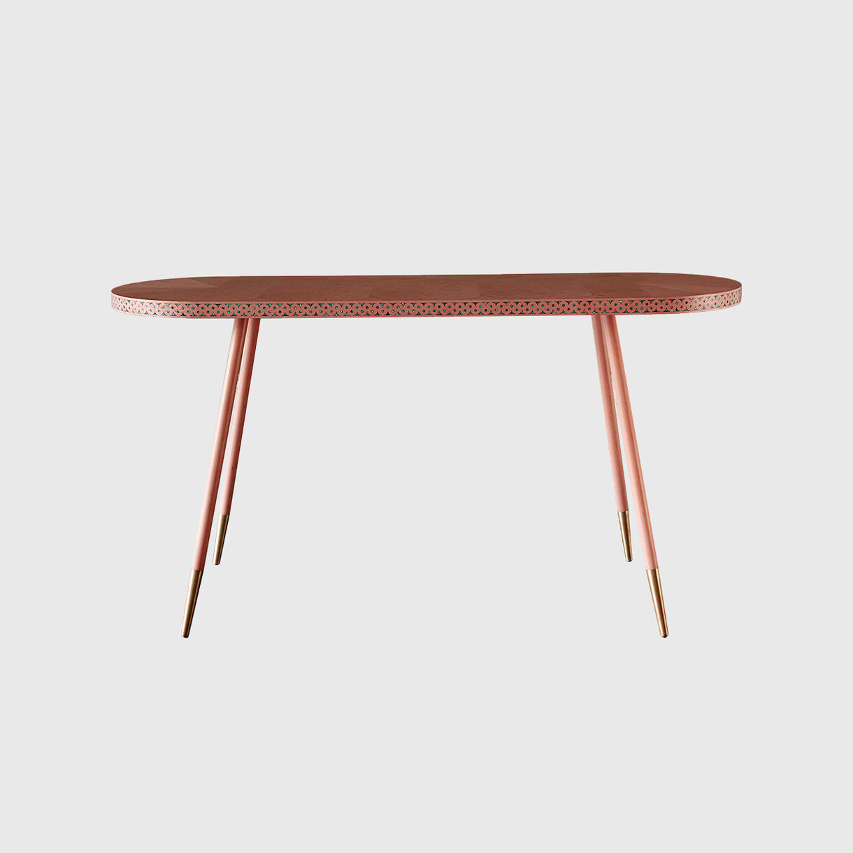 Paua Console Table, Coral & Gold