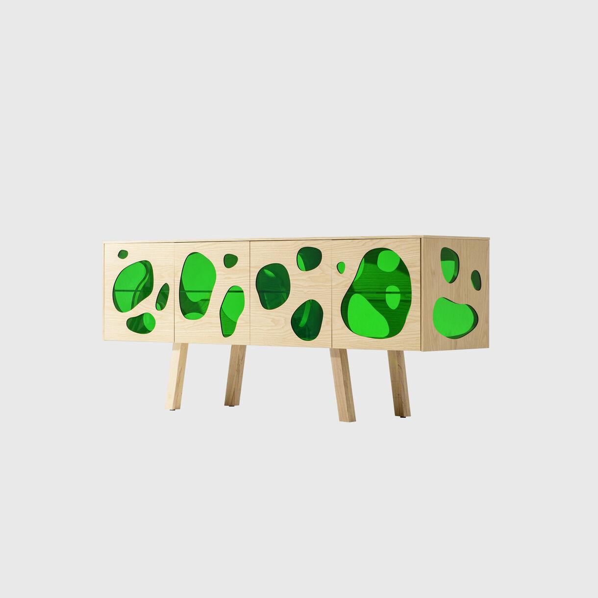 Aquario Cabinet, Green Glass & Natural Ash, Front Angled