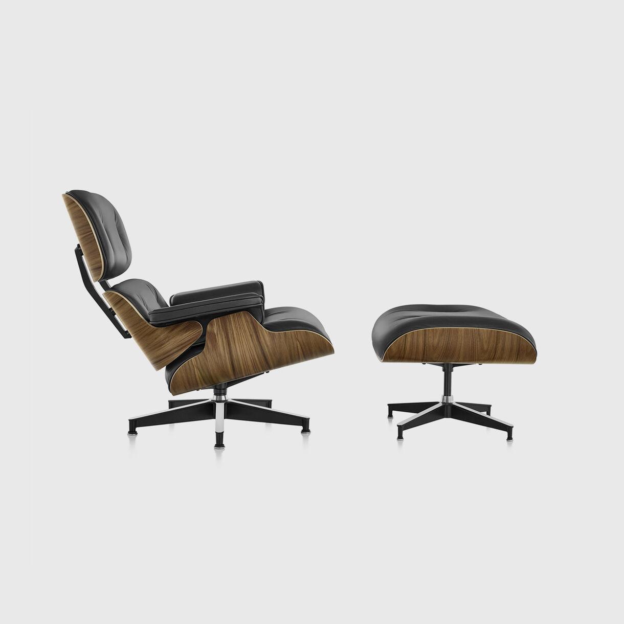 Eames Lounge Chair & Ottoman, Walnut & Black, Side