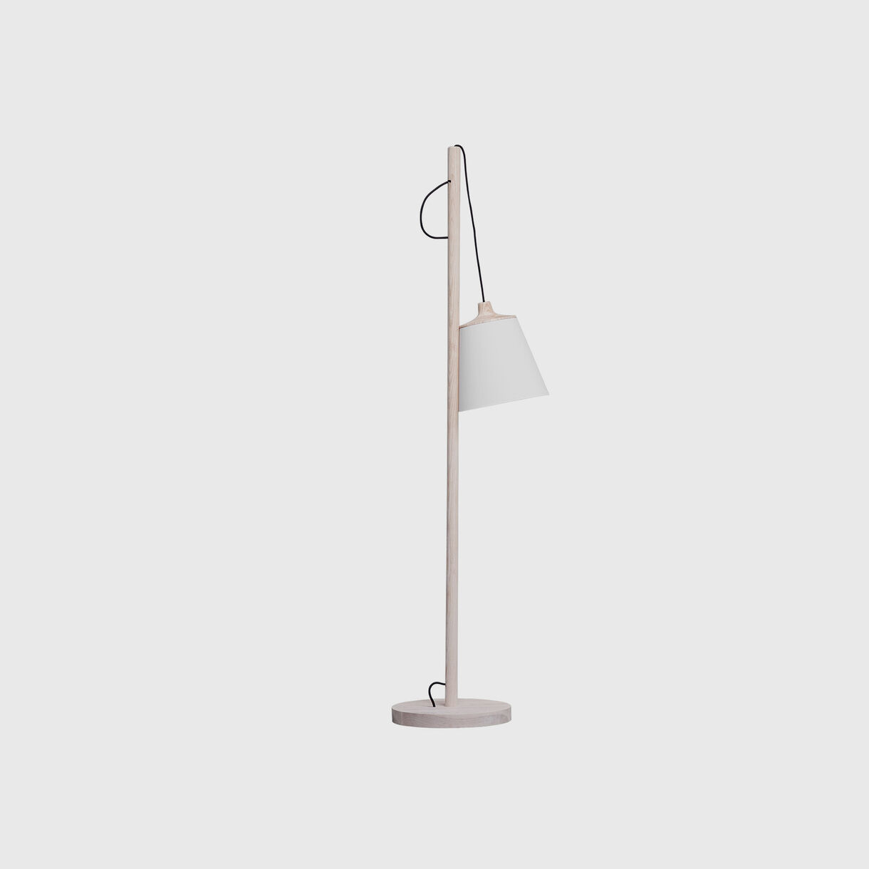 Pull Floor Lamp, Oak & White, Off