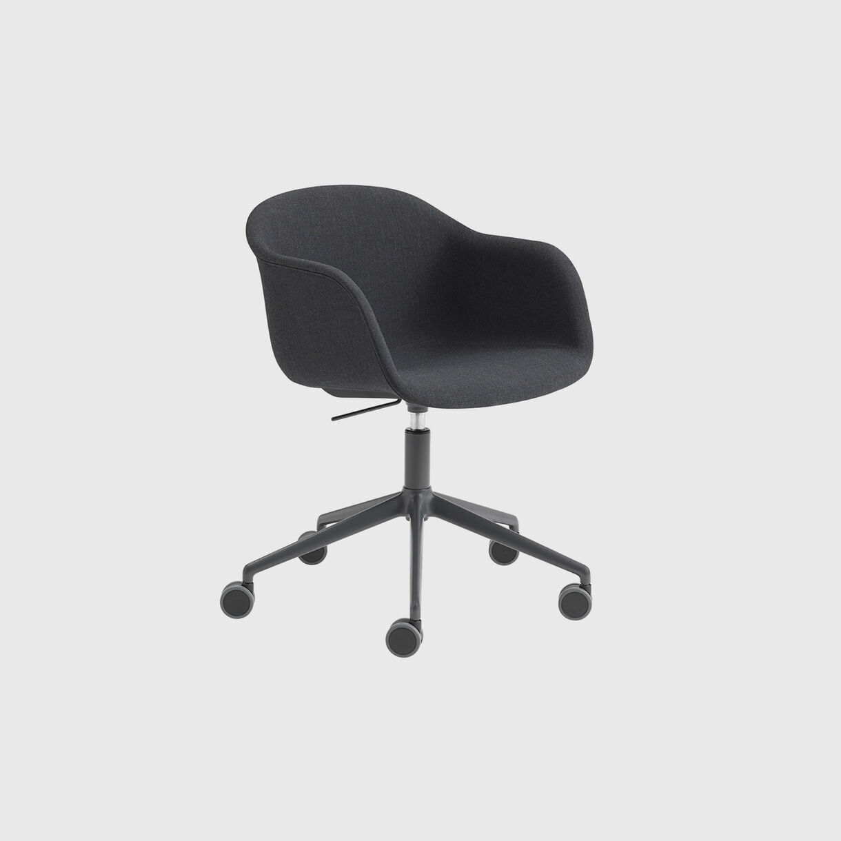 Fiber Armchair Upholstered, Remix 183 & Black, Swivel Base with Castors & Gas Lift, Grey