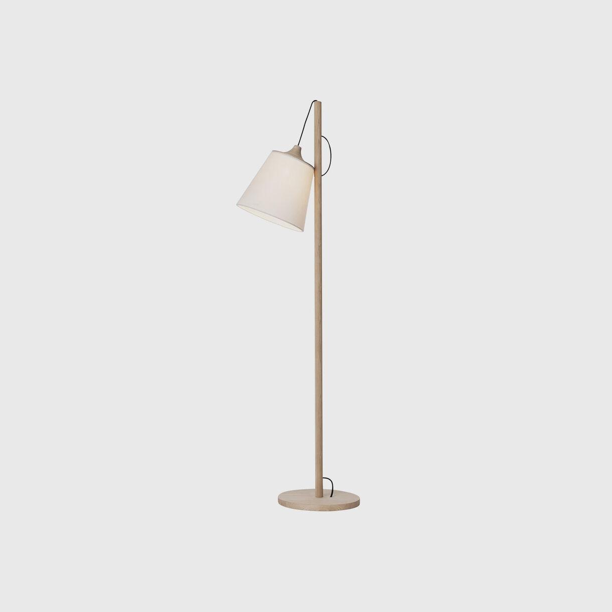 Pull Floor Lamp, Oak & White, On