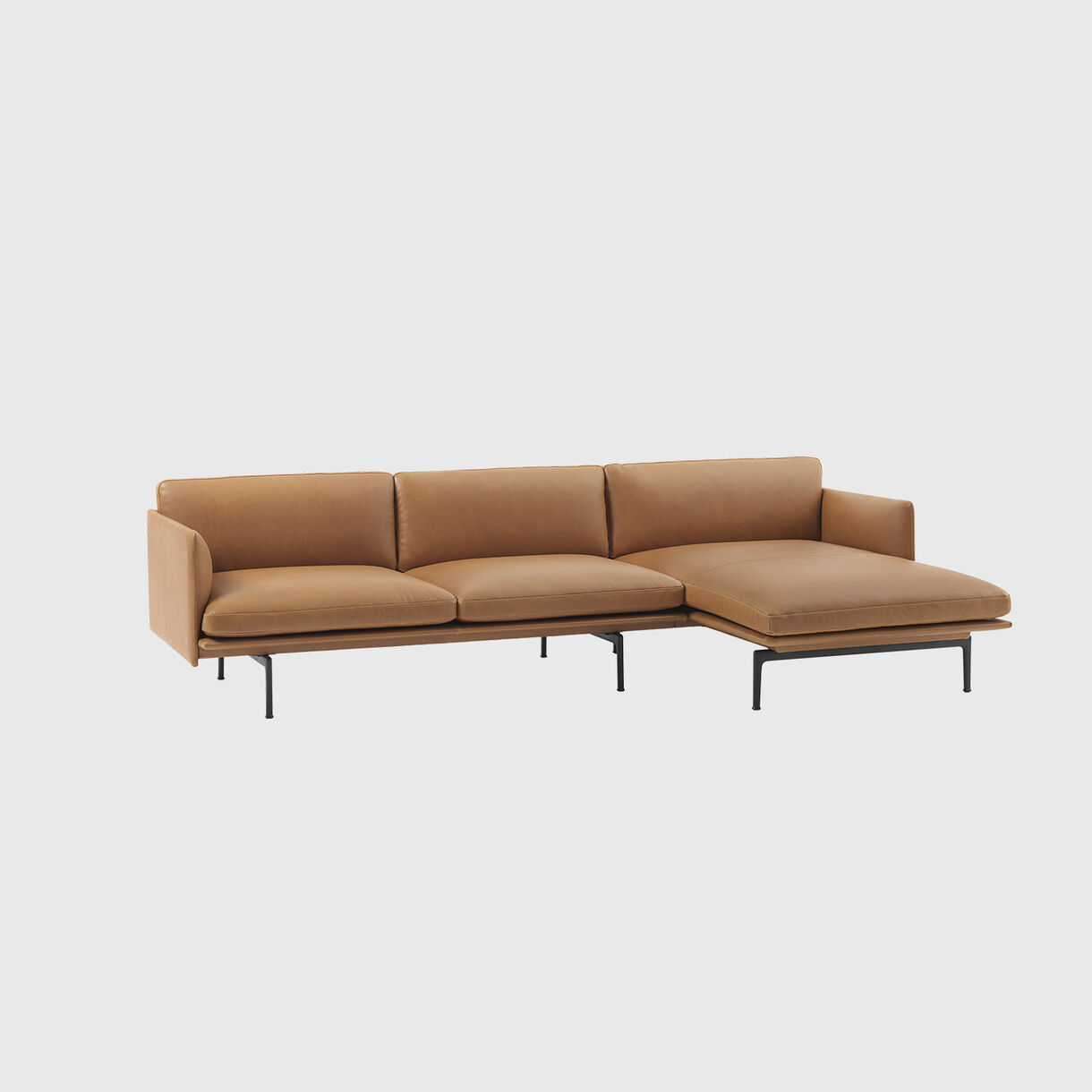Outline Chaise Sofa, Right, Cognac Leather