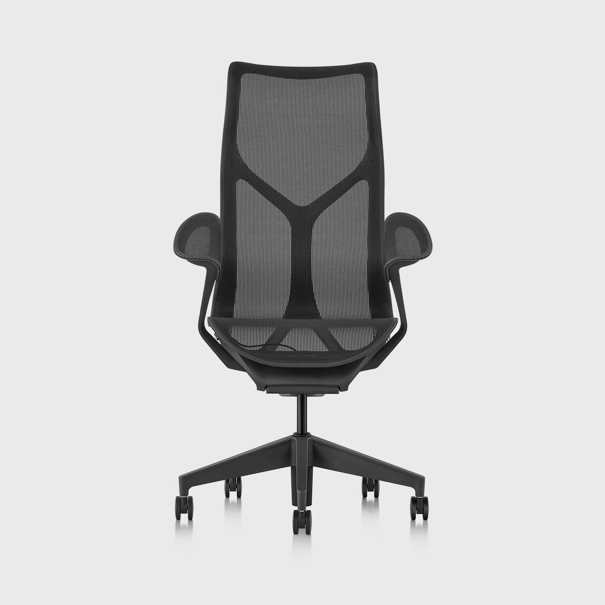 Cosm Chair, Graphite - High Back - Leaf Arms