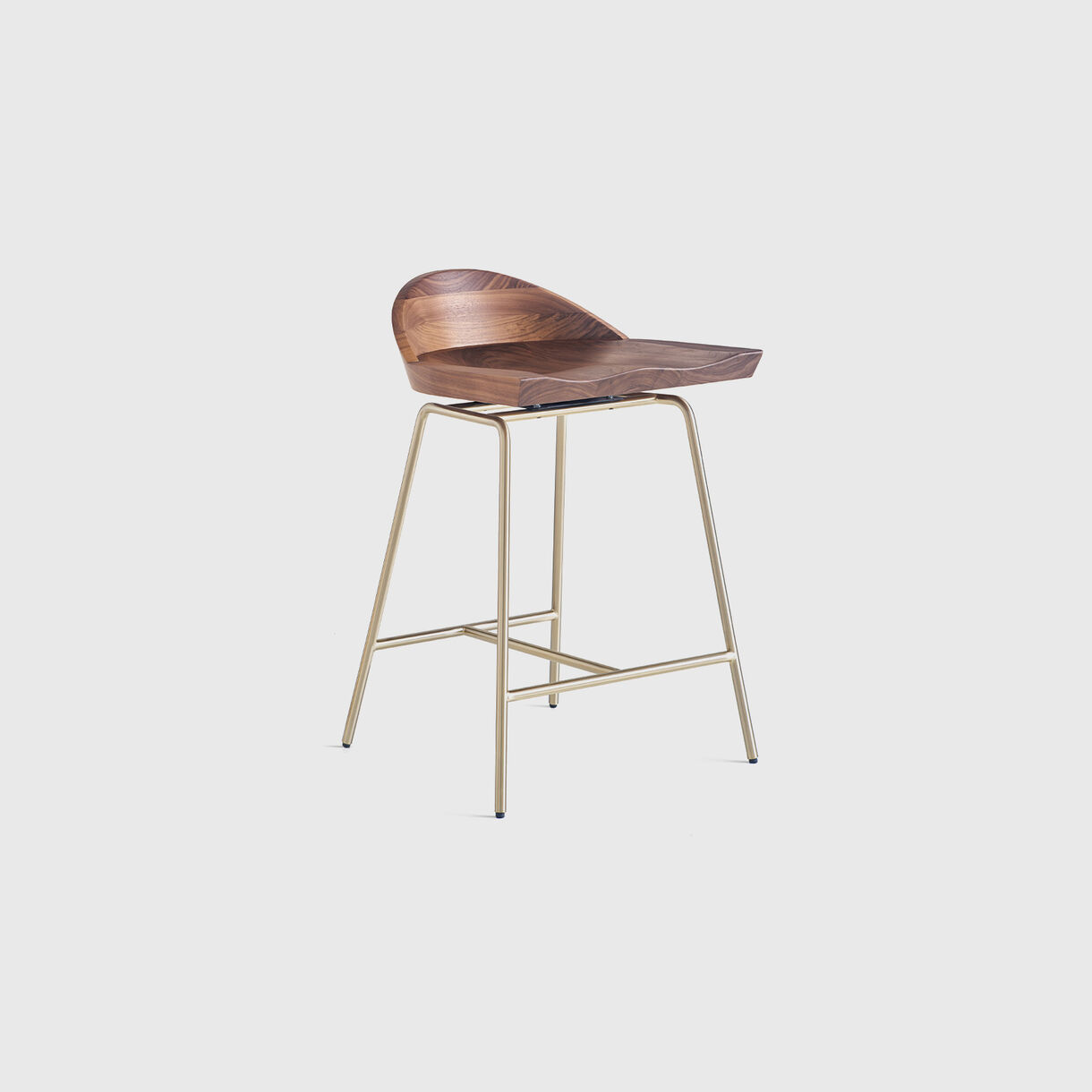 Spindle Low Back Counter Stool, Walnut & Satin Brass