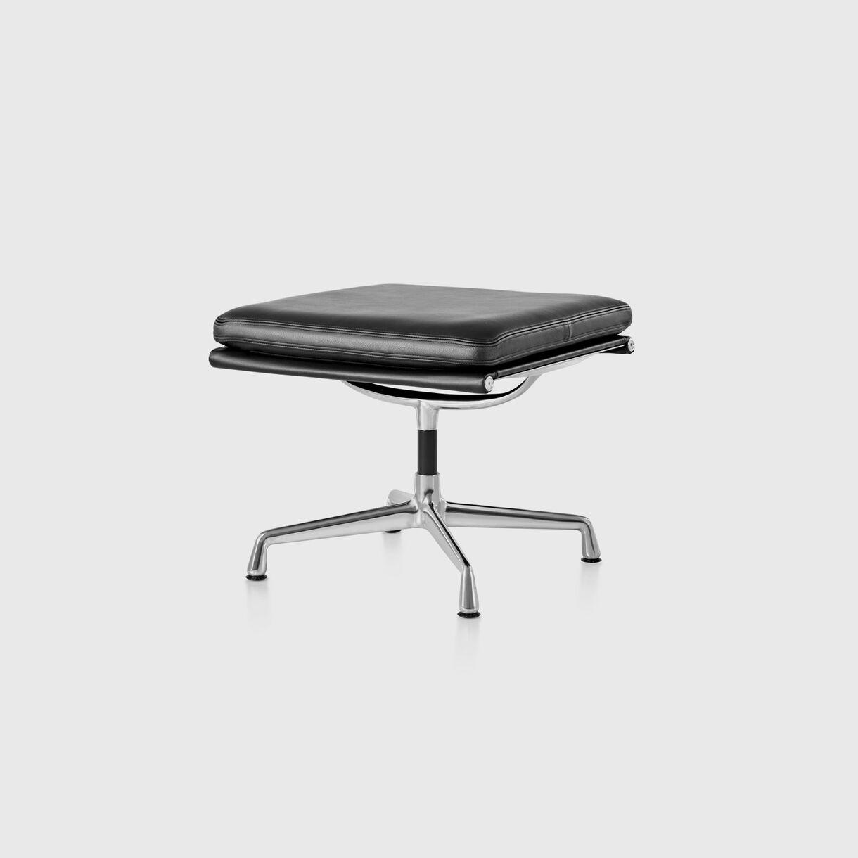 Eames Soft Pad Group Ottoman, Black Leather & Polished Aluminium