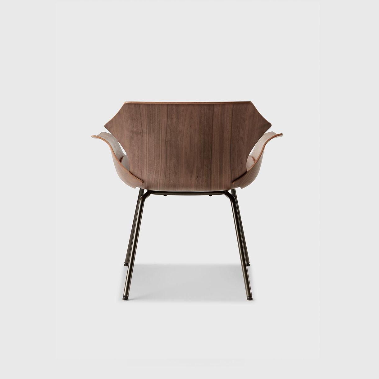 Petal Metal Base Lounge Armchair, Raw Oak