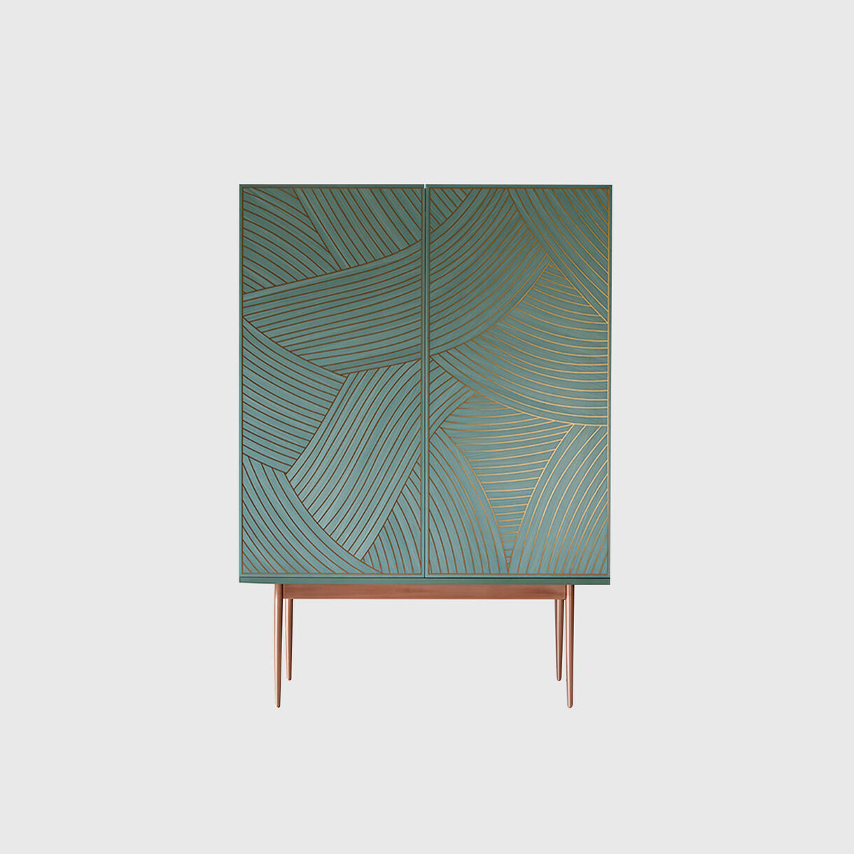 Dhow Bar Cabinet, Teal, Copper, Closed