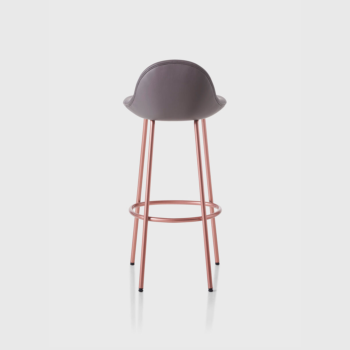 Pebble Padded Bar Stool, Leather & Copper Base