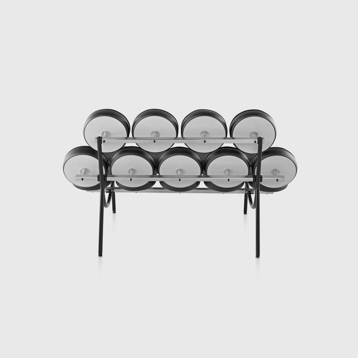Nelson Marshmallow Sofa, Black Leather, Back
