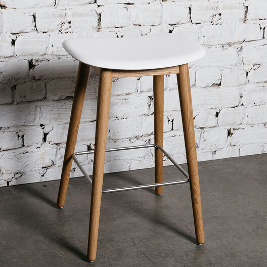 Fiber Counter Stool, Wood Base