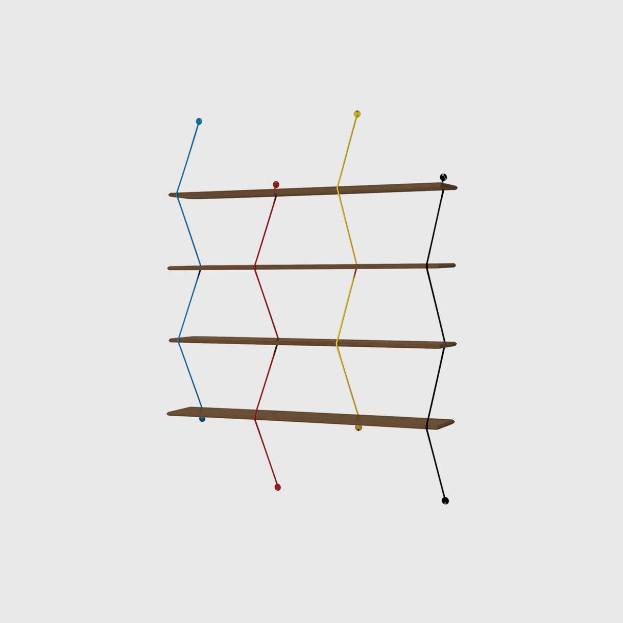 Climb Shelving System, Walnut & Coloured Wire