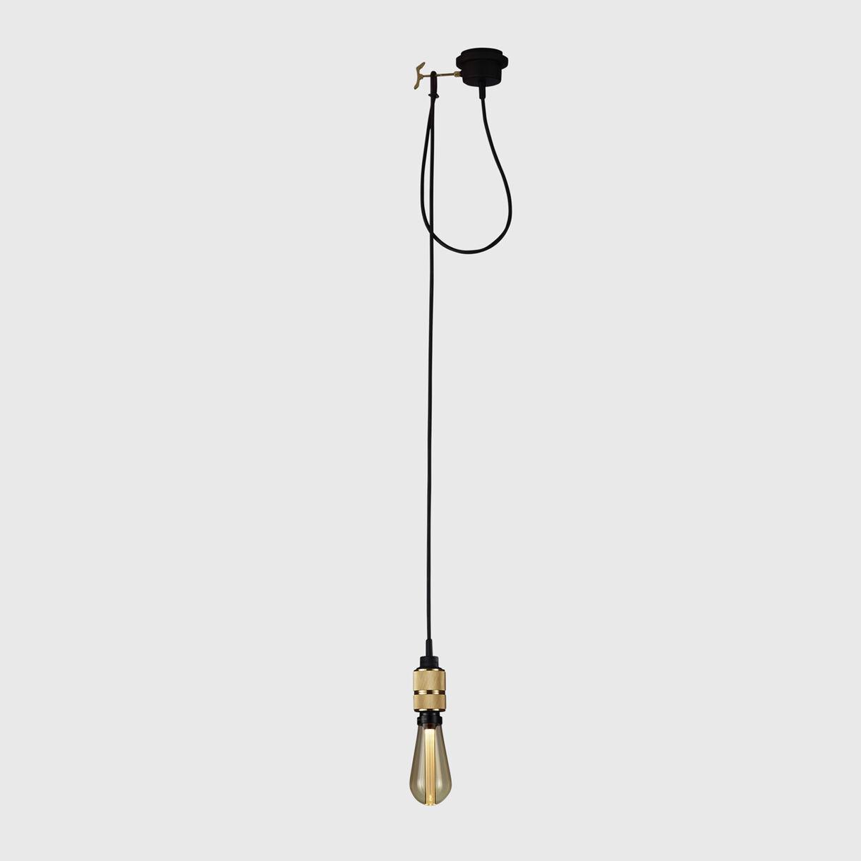 Hooked Pendant, Brass, Gold Bulb