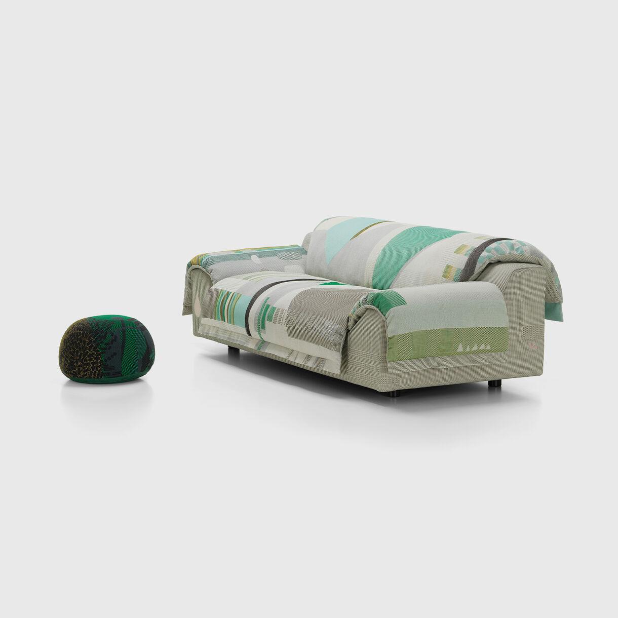 Vlinder Sofa, Light Greens with Bovist Ottoman, Dark Greens