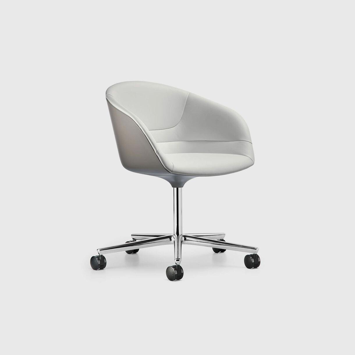Kyo Chair 5 Star Base, White Leather & Silver Base