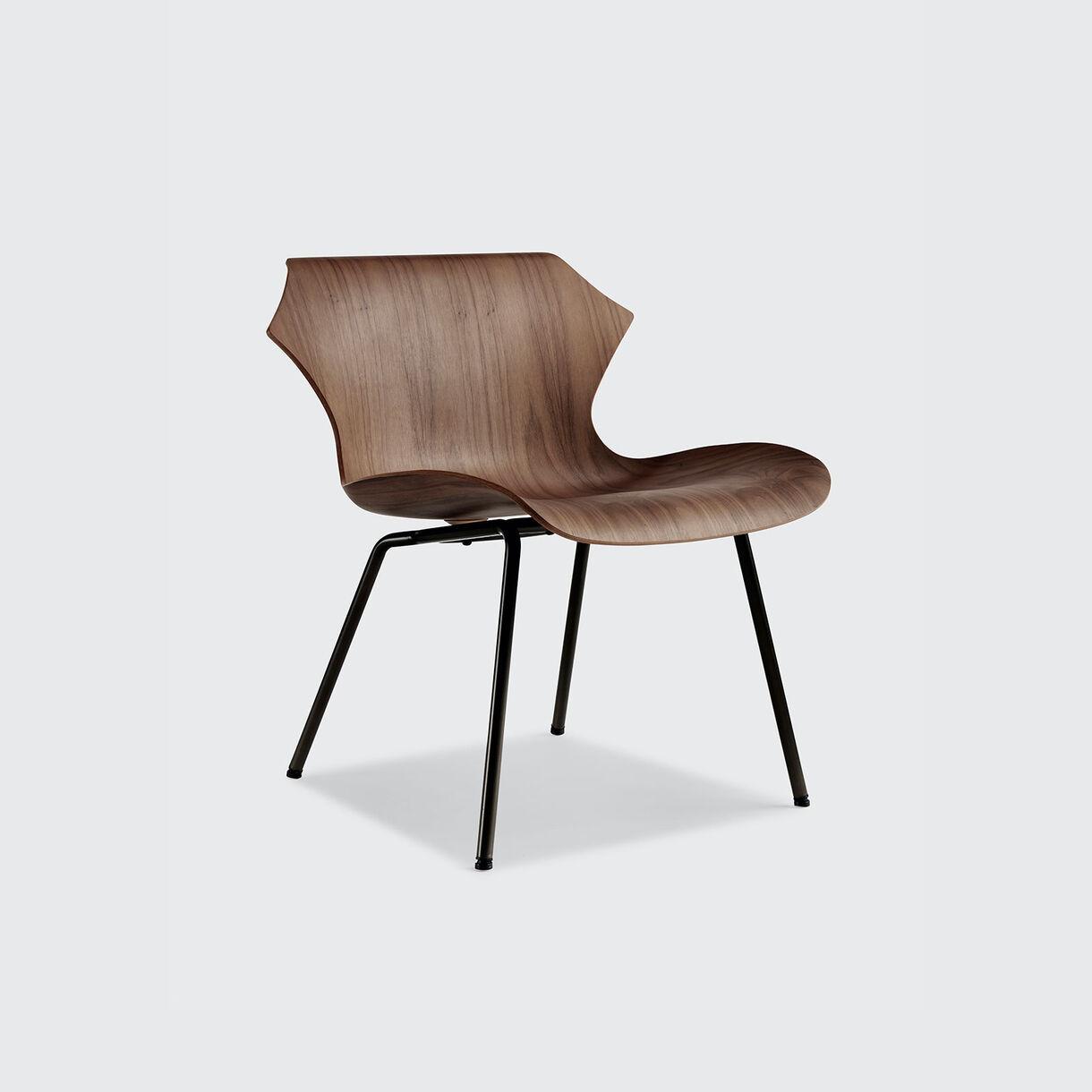 Petal Metal Base Lounge Chair, Walnut