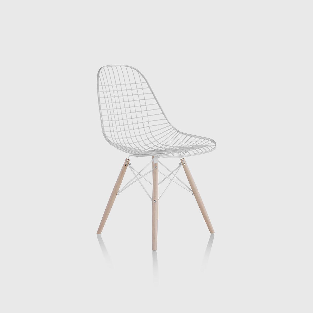 Eames Wire Chair, Dowel Base, White & White Ash