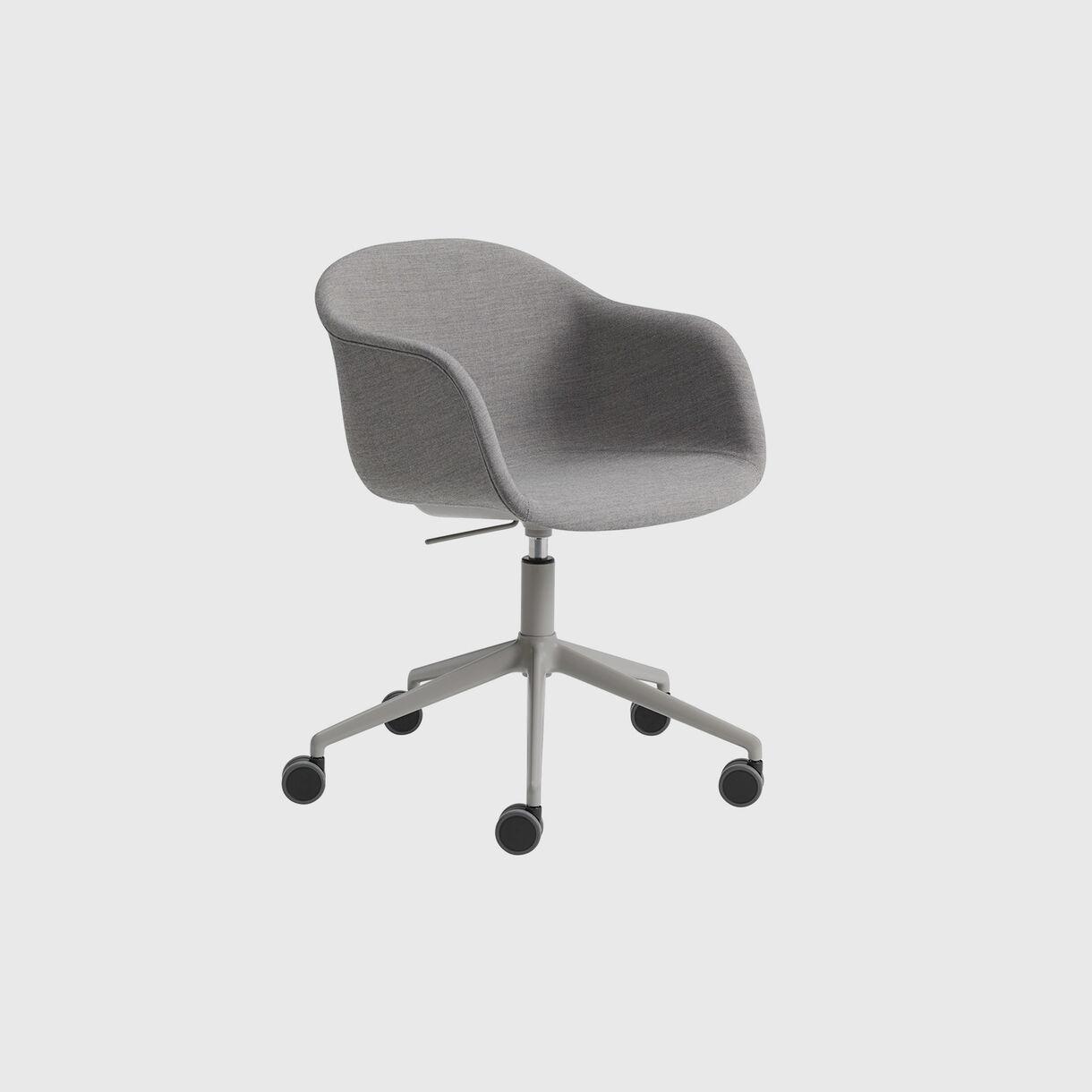 Fiber Armchair Upholstered, Remix 133 & Grey, Swivel Base with Castors & Gas Lift, Grey