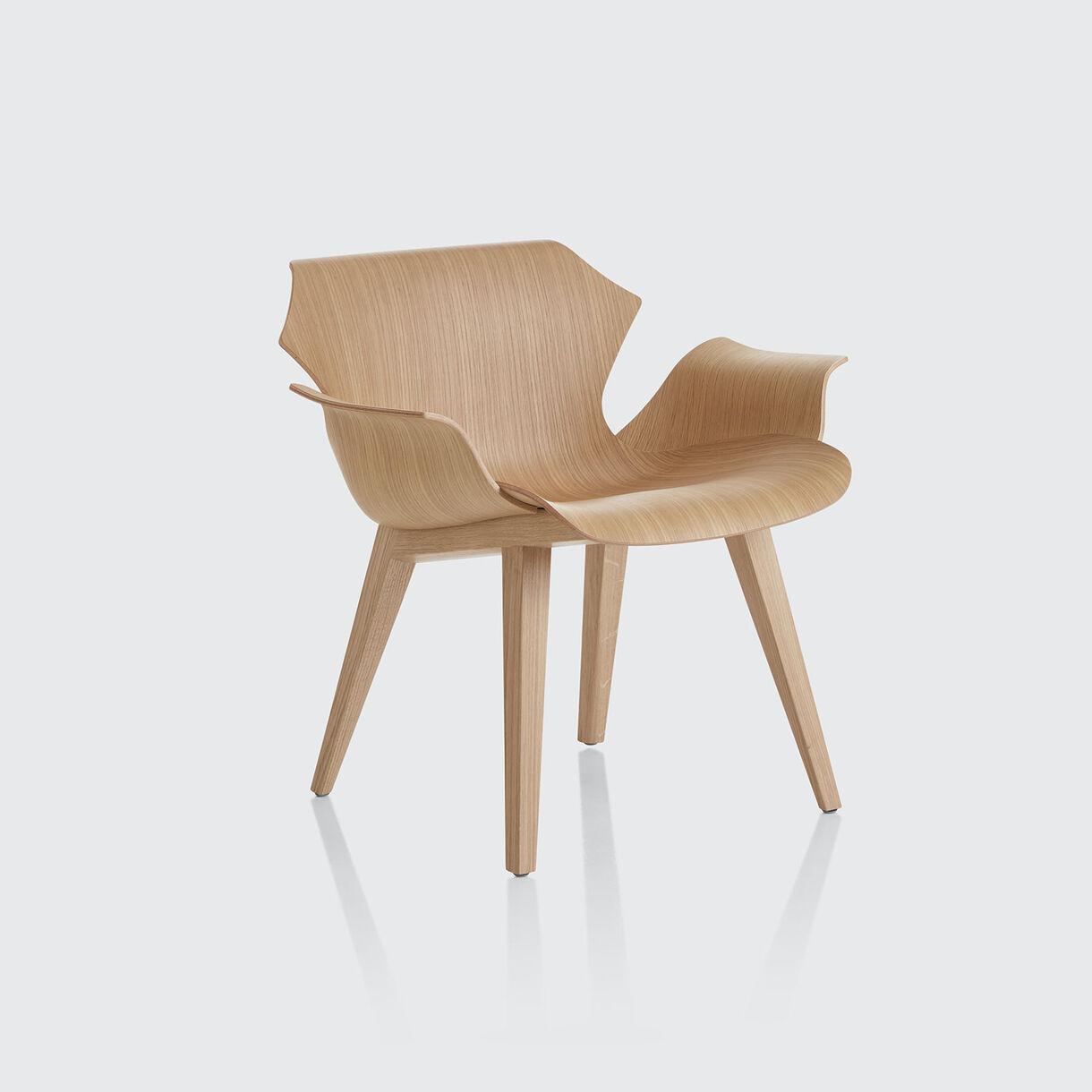 Petal Metal Base Lounge Armchair, Ebonised Oak