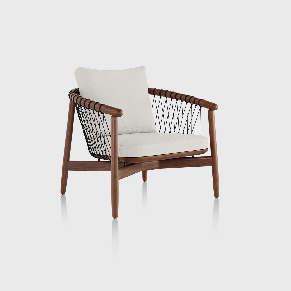 Crosshatch Lounge Chair, Walnut & Snow Capri