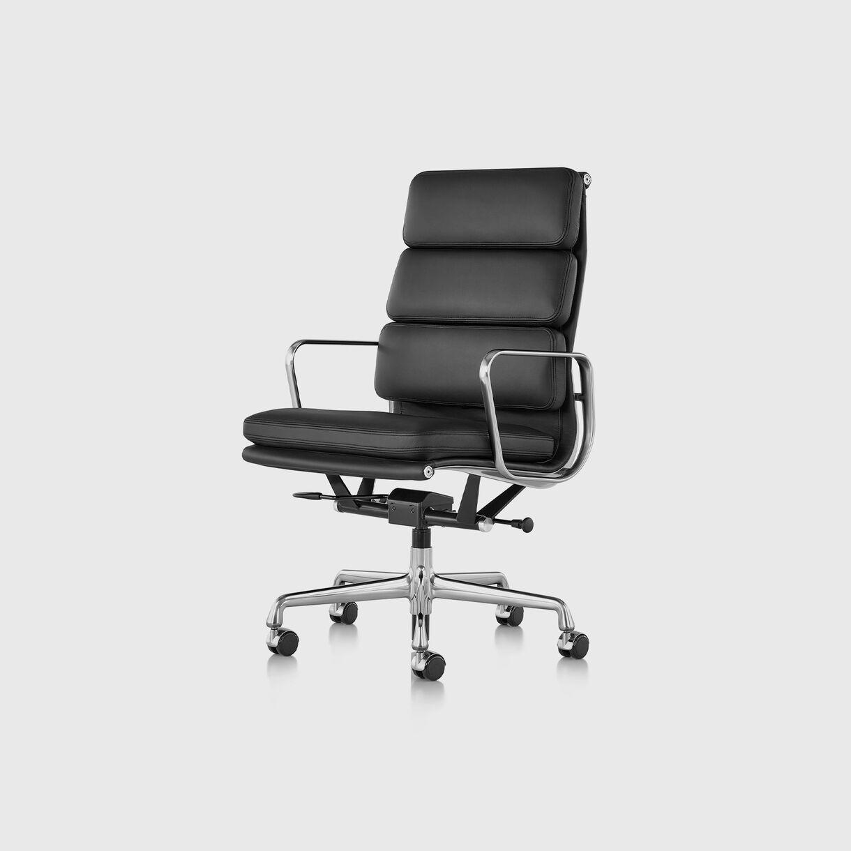 Eames Soft Pad Group Executive Chair, Black Leather & Polished Aluminium