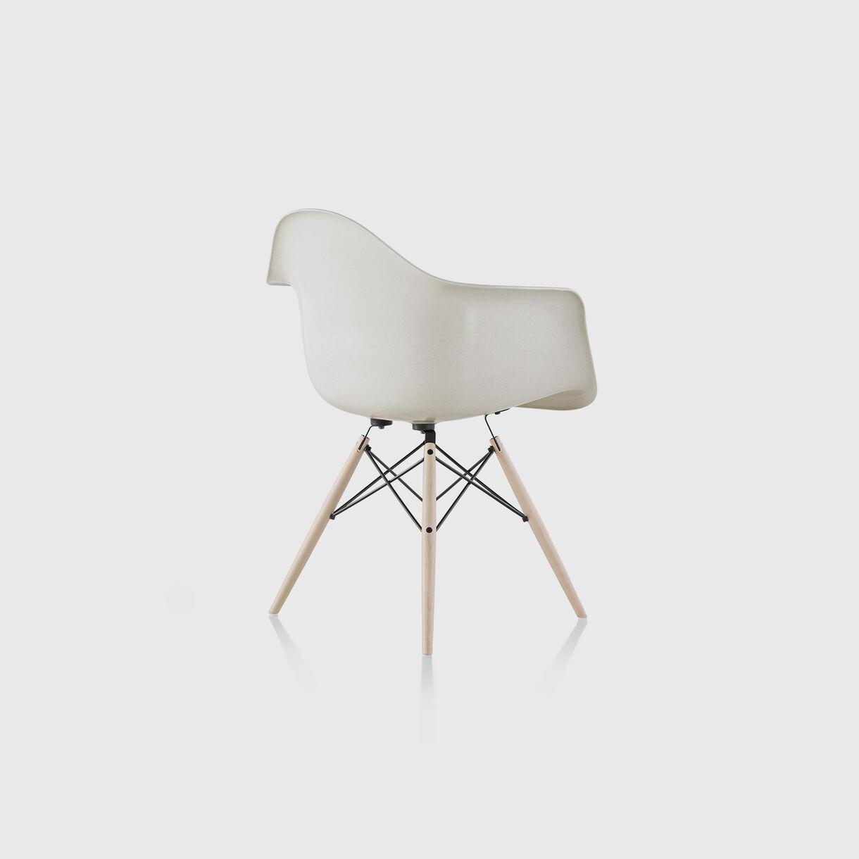 Eames Moulded Fibreglass Armchair, Parchment, Black & White Ash