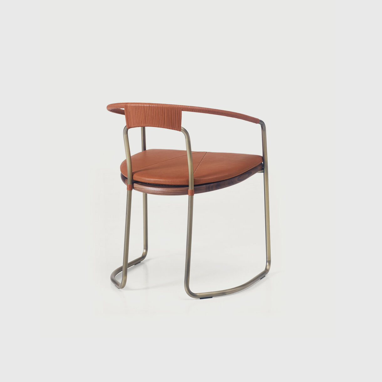 Geometric Side Chair in Leather