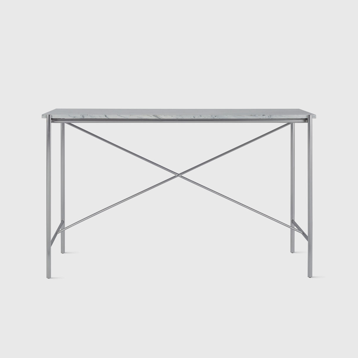 Sylvain Outline Console Table, Carrara Marble & Stainless Steel
