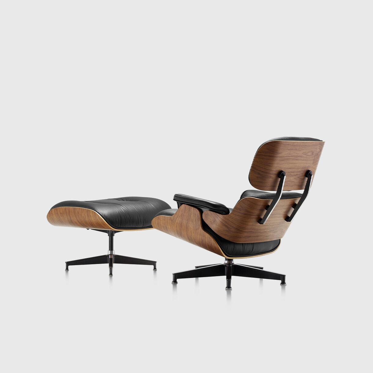 Eames Lounge Chair & Ottoman, Black & Walnut, Back Angled