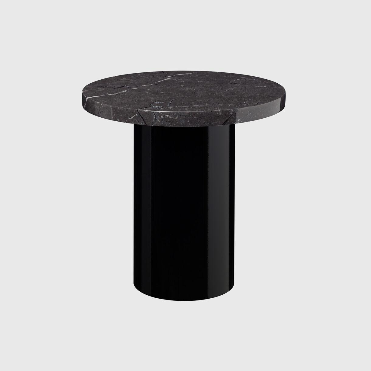 Enoki Side Table, High, Jet Black & Black Marble