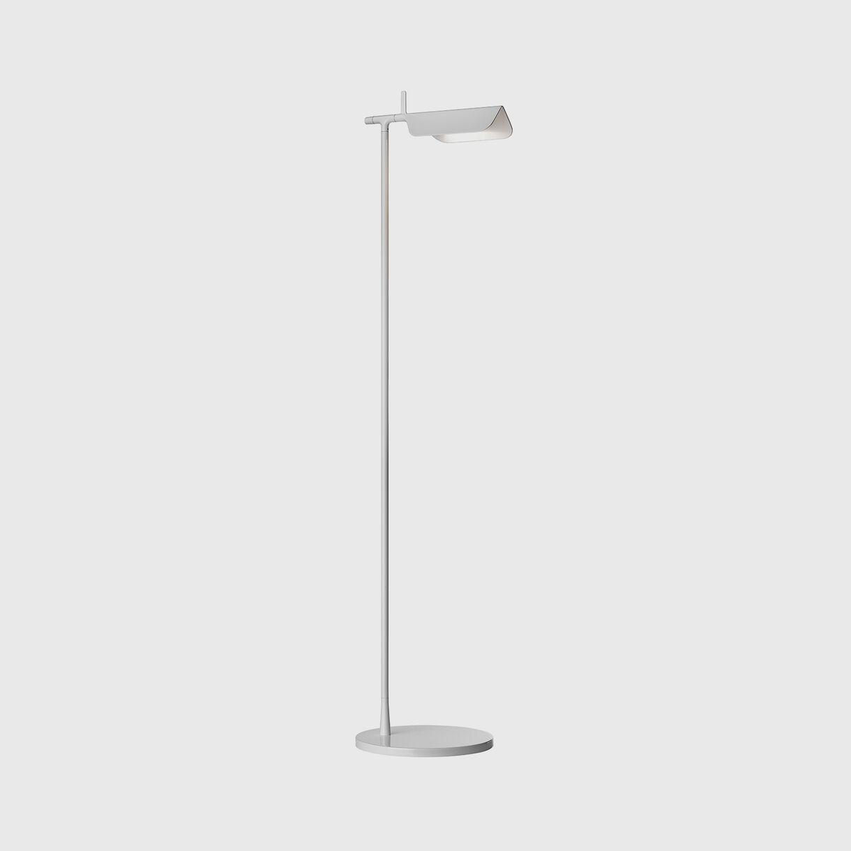 Tab Floor Lamp, White, On
