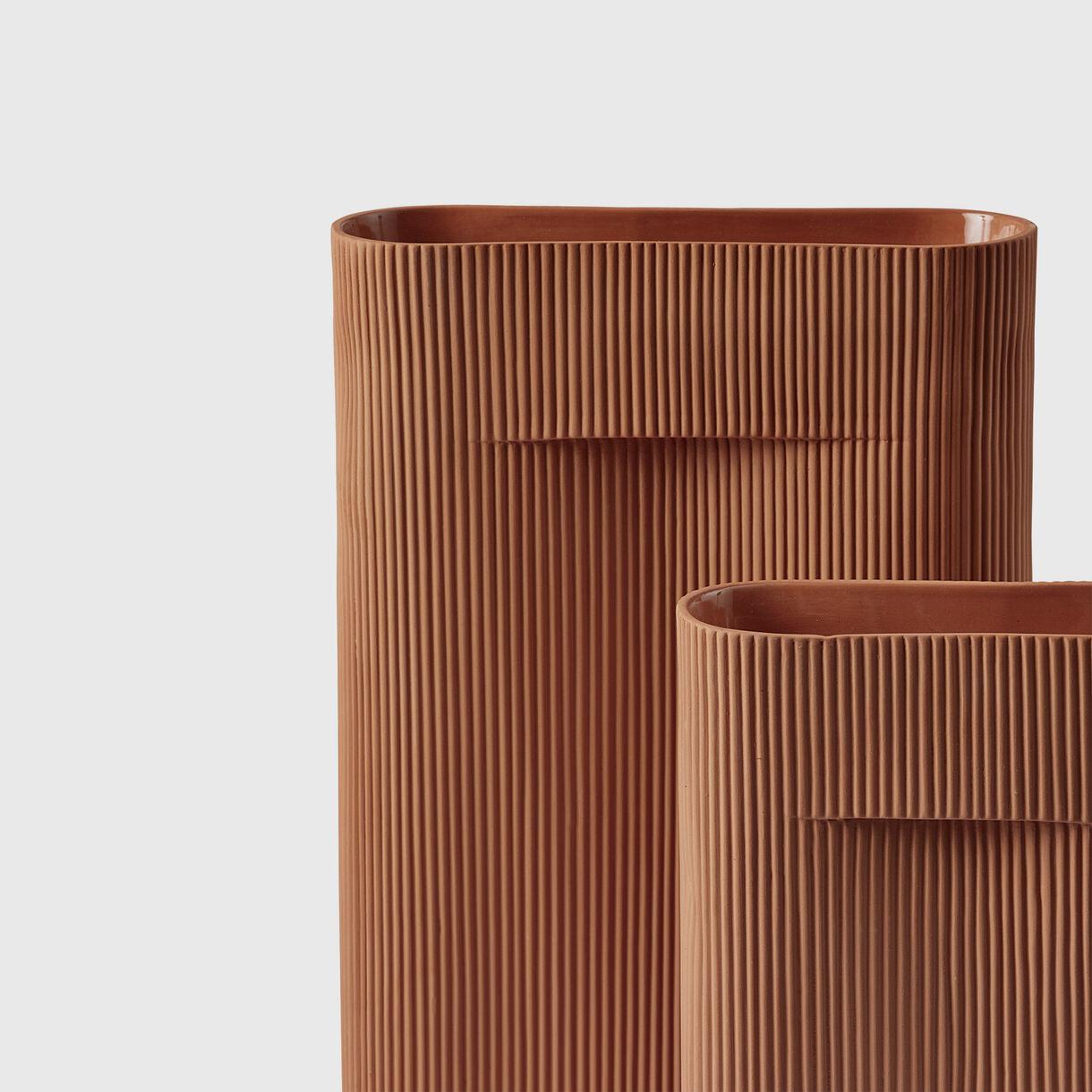 Ridge Vases, Terracotta