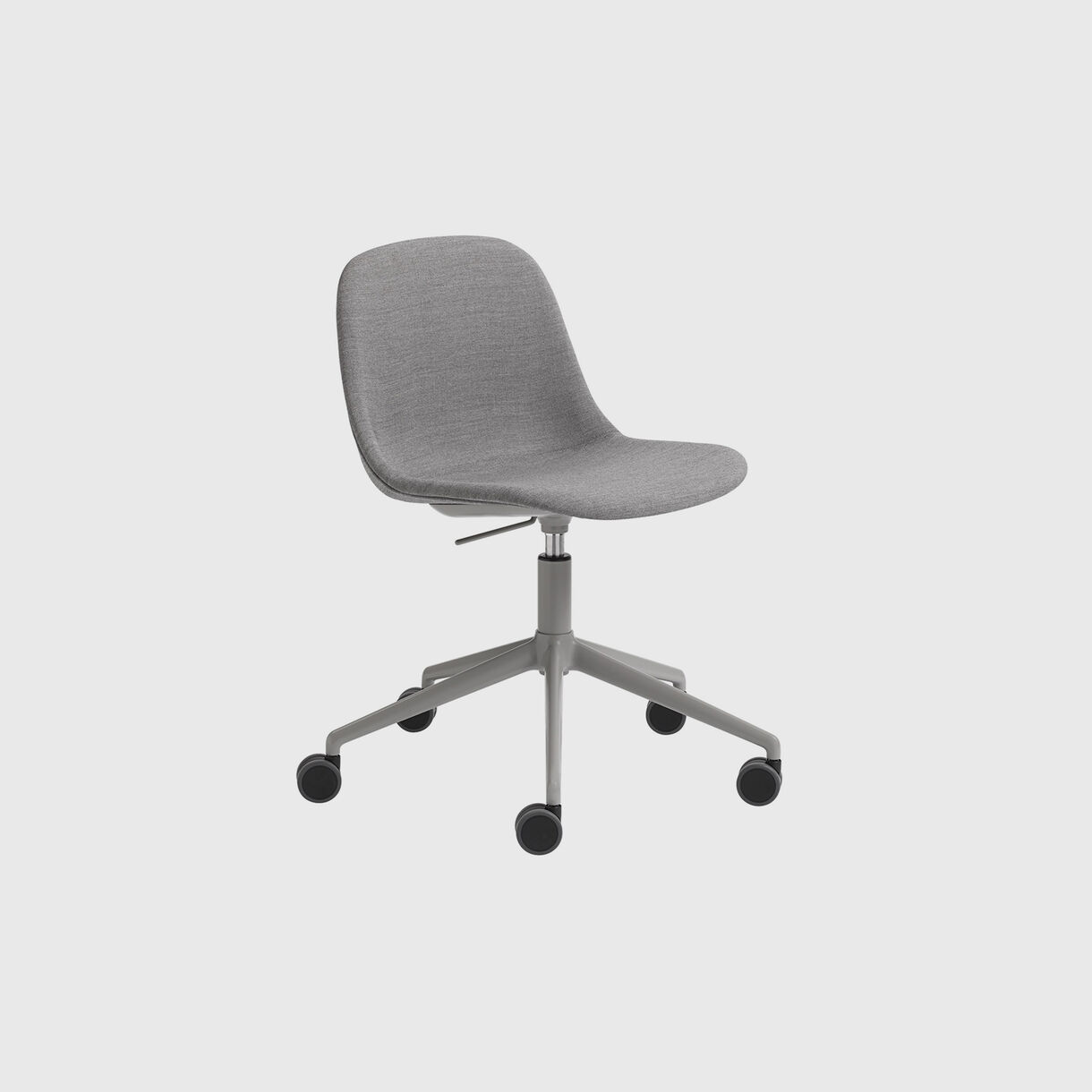Fiber Side Chair Upholstered, Remix 133, Swivel Base with Castors & Gas Lift, Grey