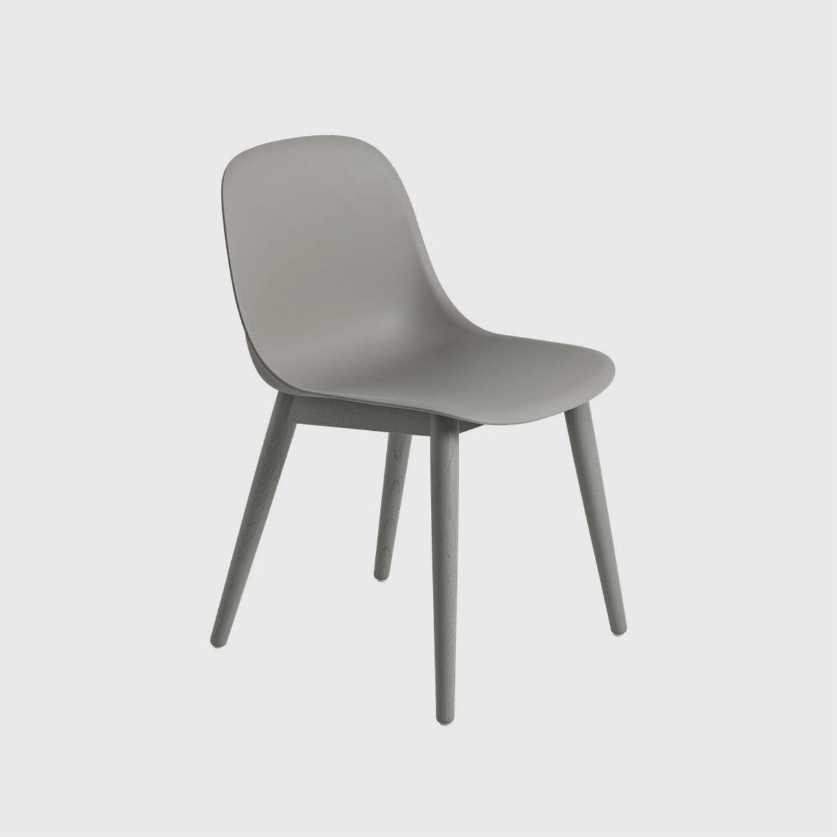 Fiber Side Chair Wood Base, Grey