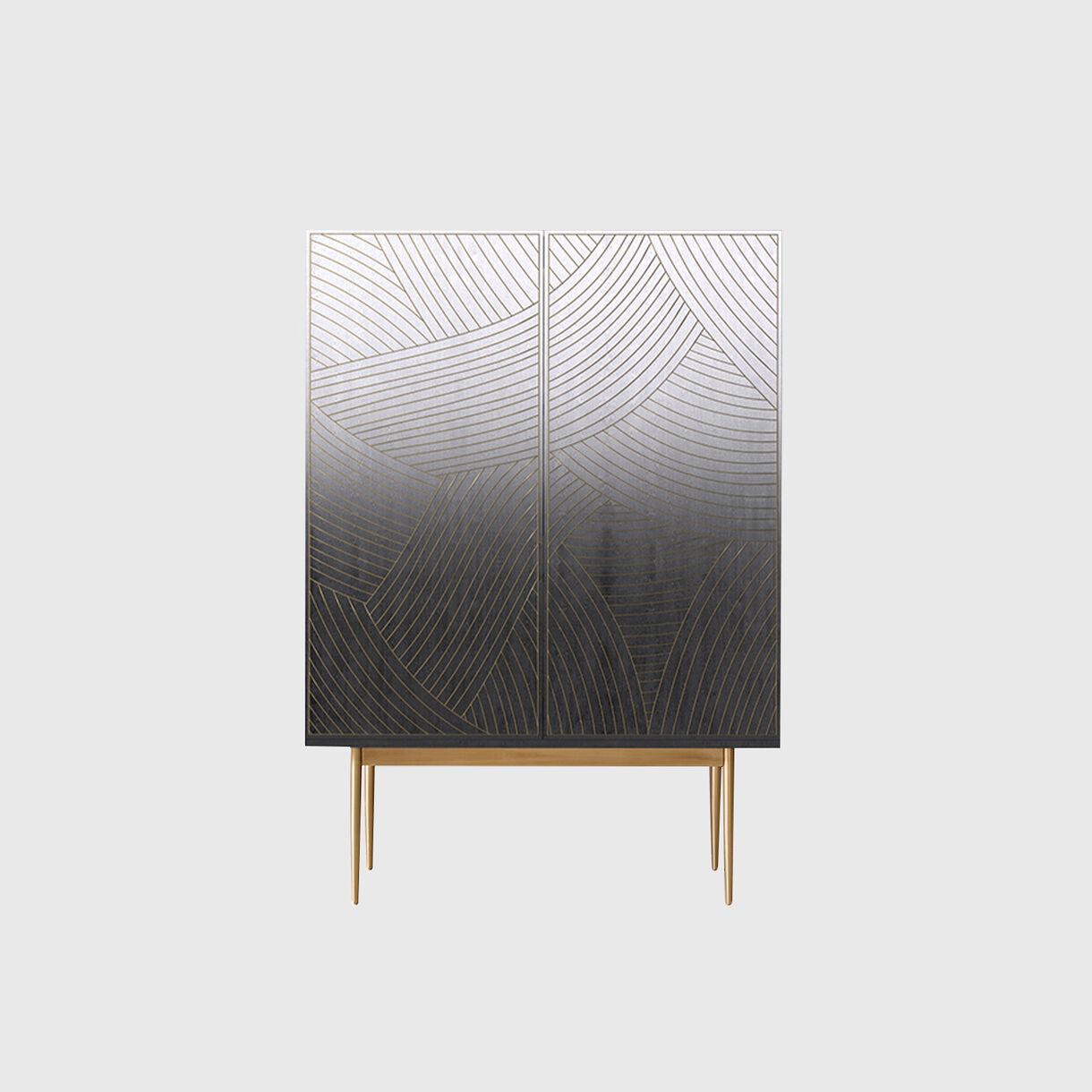 Dhow Bar Cabinet Monochrome, Brass