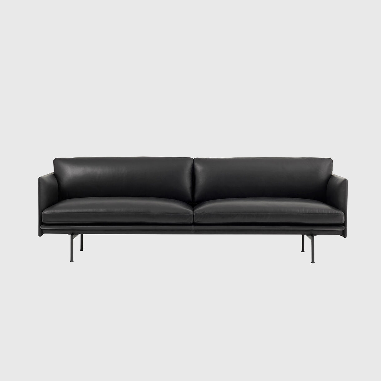 Outline 3 Seater Sofa, Black Leather