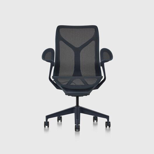 Cosm Chair, Nightfall, Mid Back, Leaf Arms
