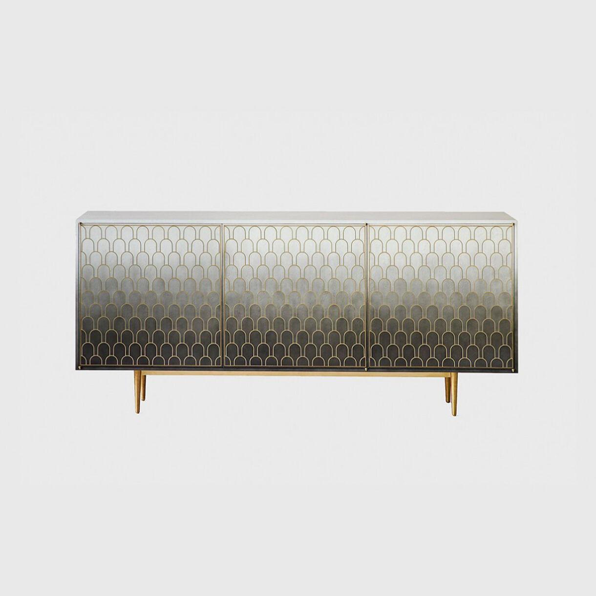 Nizwa 3-Door Cabinet, Black-White Monochrome & Brass