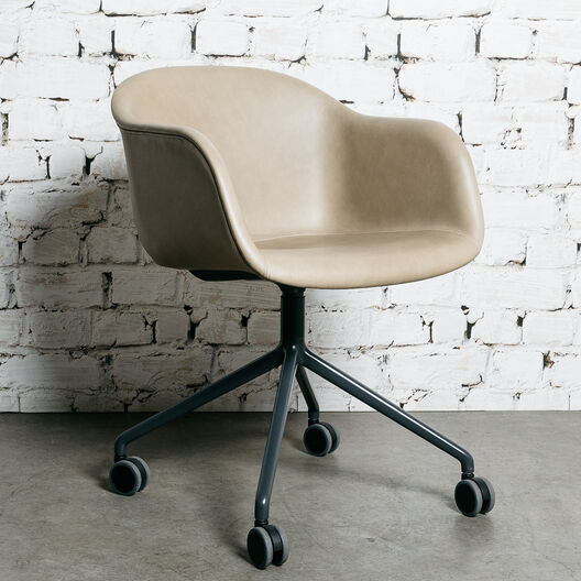 Fiber Armchair, Swivel Base with Castors