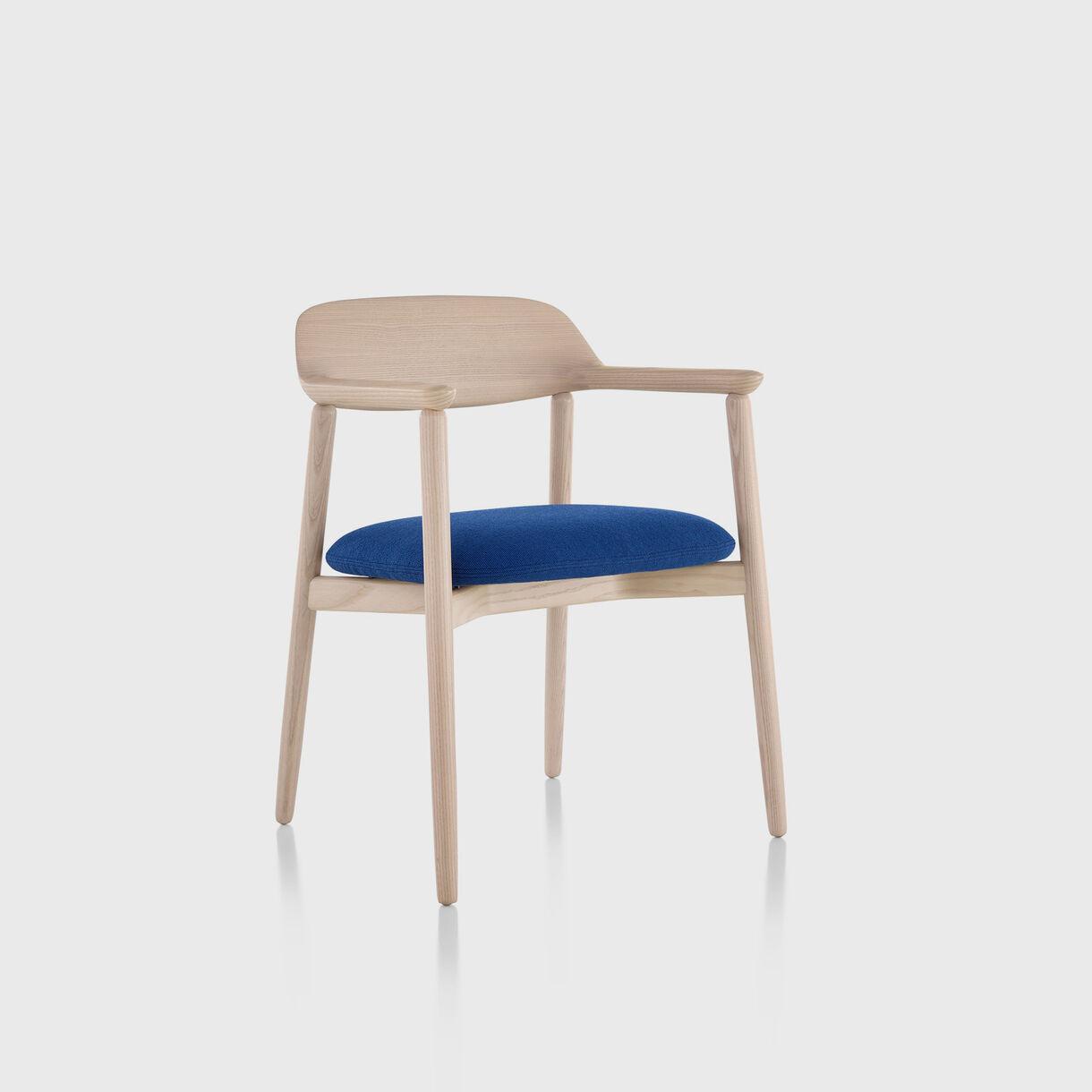 Crosshatch Side Chair, White Ash & Cerulean