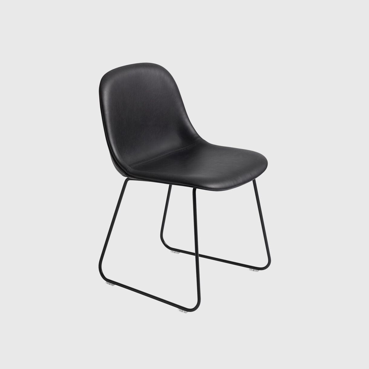 Fiber Side Chair Sled Base, Upholstered, Black Leather