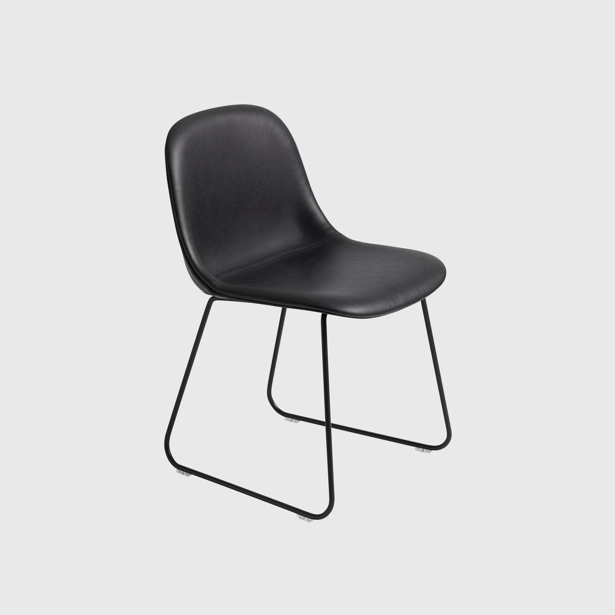 Fiber Side Chair Sled Base, Upholstered, Black Leather