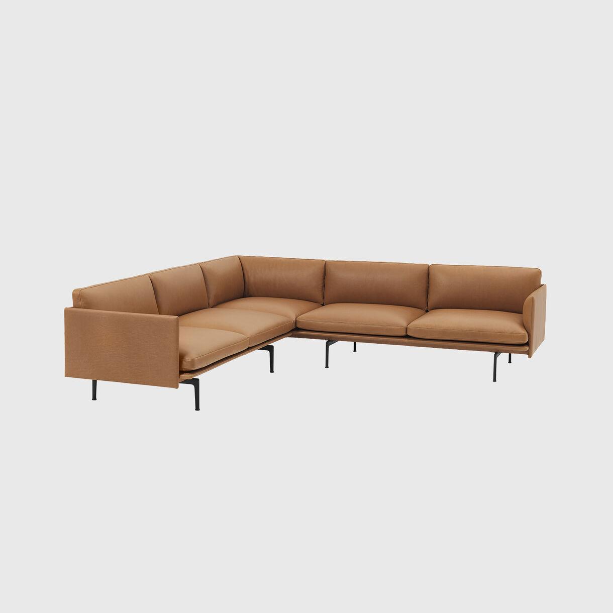Outline Corner Sofa, Cognac Leather & Black Base