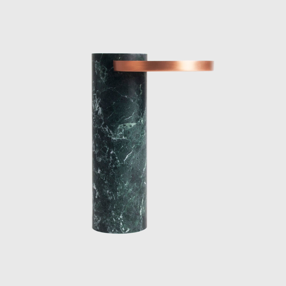 Salute Side Table, High, Green Marble & Copper