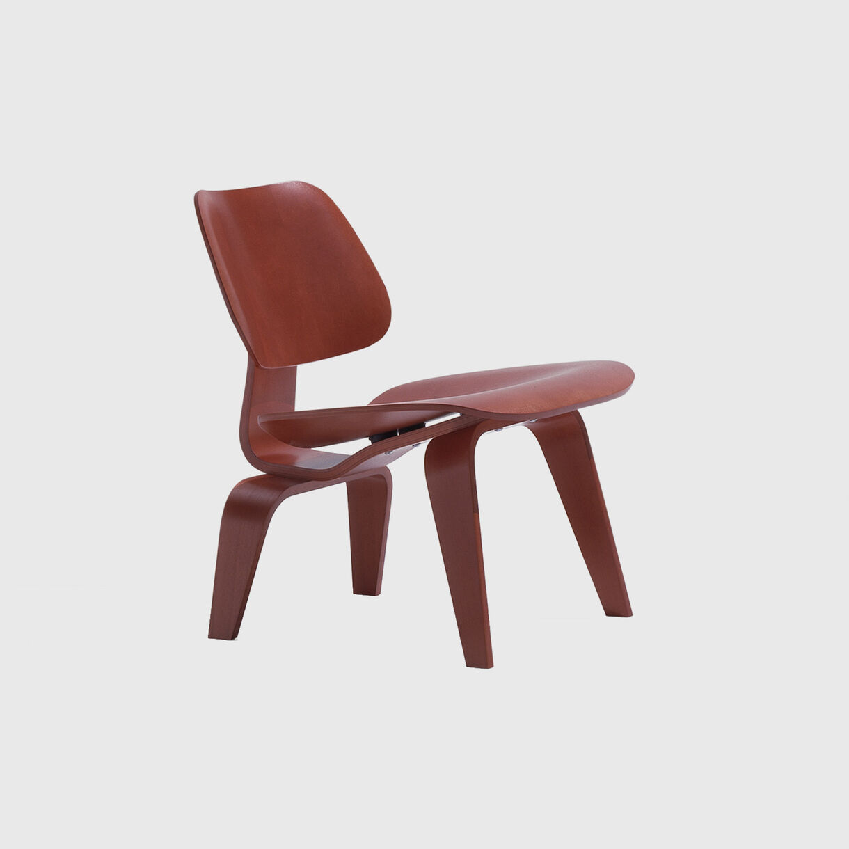 Eames Moulded Plywood Lounge Chair, Wood Base, Red Stain