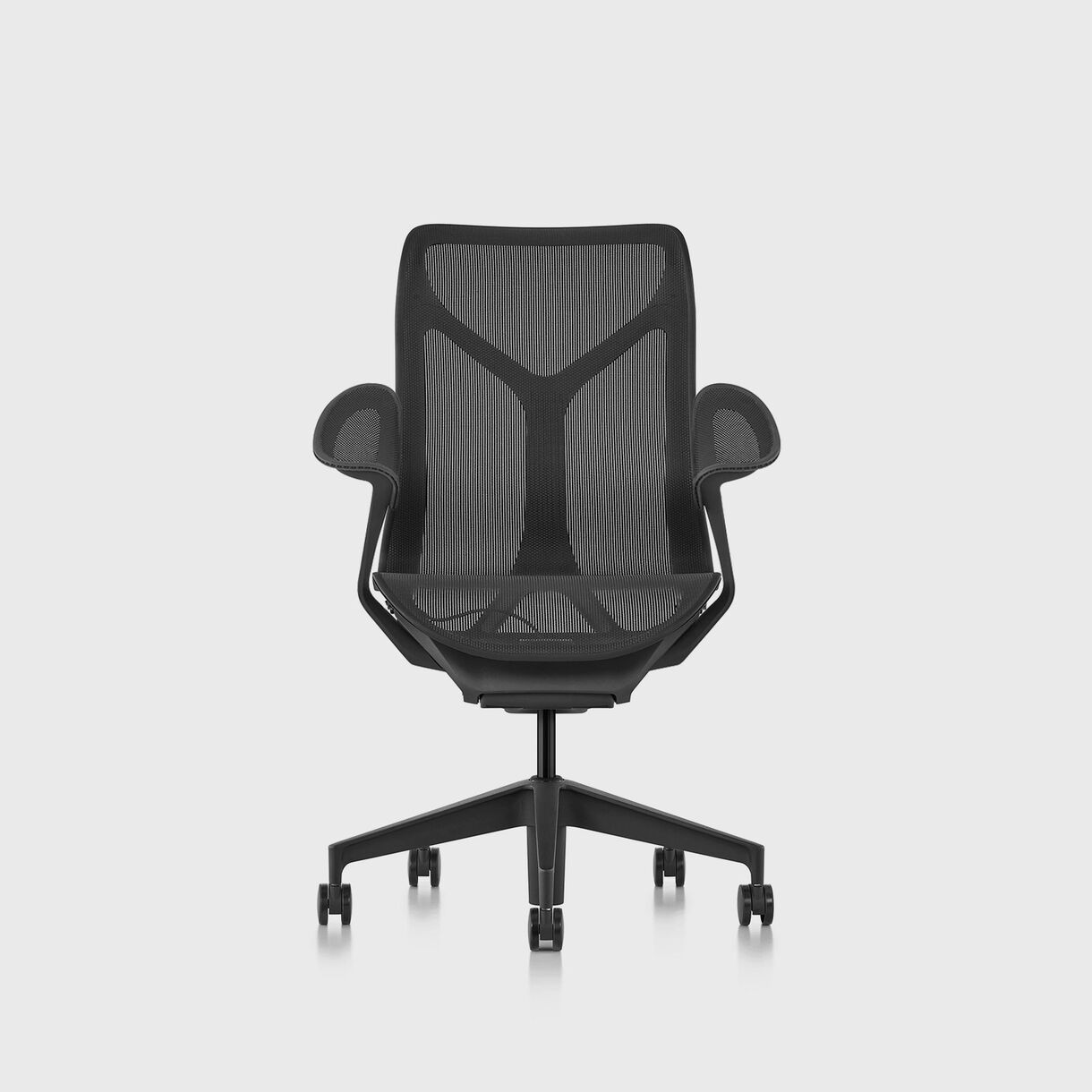 Cosm Chair, Graphite - Mid Back - Leaf Arms