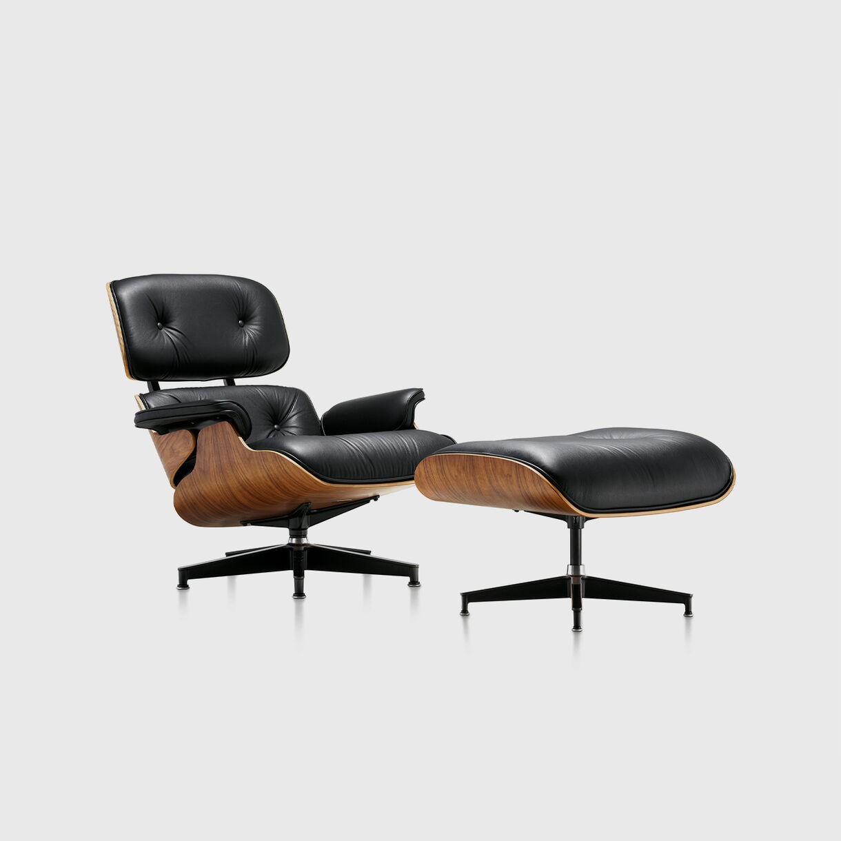 Eames Lounge Chair & Ottoman, Walnut & Black, Front Angled